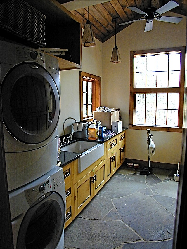 knotty pine laundry room